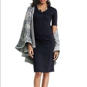 CAbi Black Claire Dress 10 Ponte Knit V-Neck